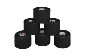 (Black) - BB Sport 6 Rolls Kinesiology Tape Muscle Support Tape 5 m x 5 cm E-Book Application Examples Muscle Support Elastic Strapping Tape, Colour:Black