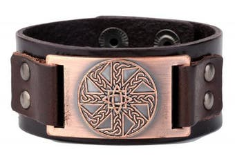 (Antique Copper,Brown) - Vintage Irish Knot Slavic Wicca Norse Runes Charm Cuff Adjustable Leather Bracelets