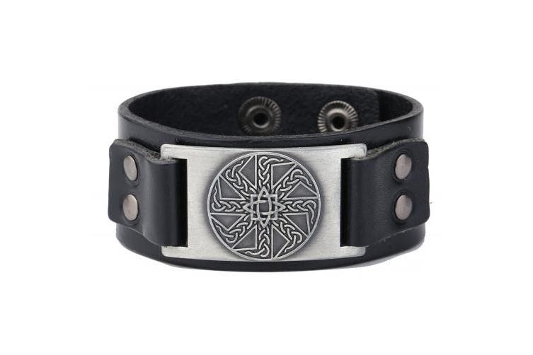 (Antique Silver,Black) - Vintage Irish Knot Slavic Wicca Norse Runes Charm Cuff Adjustable Leather Bracelets