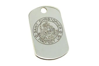 (0.0 inches) - 925 Sterling Silver Large St Christopher Dog Tag Pendant 40mm x 25mm With Optional 2mm Bead Ball Chain In Presentation Gift Box