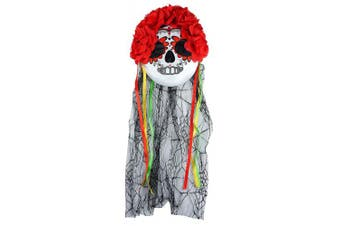 (Multicoloured) - Adults Halloween Day Of The Dead Mask & Veil With Flowers Fancy Dress Accessory