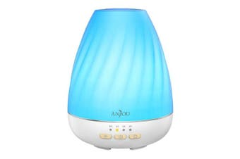 Anjou Ultrasonic 200mL Aroma Diffuser with Mist Control Essential Oil Diffuser for 12H Use ( Low Water Auto Shut-Off, 4 Timer Settings, 7 Colourful LED Lights and BPA-Free )