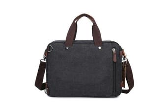 Laptop Bags Leather Backpack Fresion Convertible Canvas Messenger Shoulder Bag Men Women Travel Hiking Satchel Bags Handbags (Black, 14 Litres)