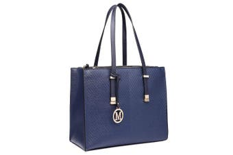 (6636 Navy) - Miss Lulu Women Adjustable Designer Shoulder Handbags Ladies A4 Size Laptop Large Faux Leather Tote Bags