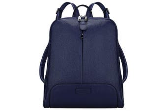(Blue) - S-ZONE 36cm Laptop Women Genuine Leather Backpack Fashion Rucksack Purse Casual Shoulder Ladies Travel Bag Blue