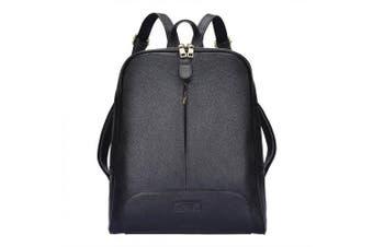 (Black) - S-ZONE 36cm Laptop Women Genuine Leather Backpack Fashion Rucksack Purse Casual Shoulder Ladies Travel Bag