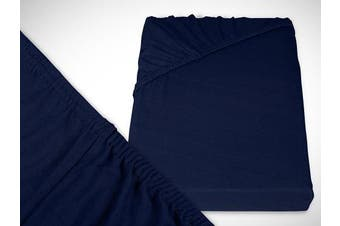 Classic Jersey Fitted Sheet Available In 22 Colours and 6 Sizes – 100% Cotton, navyblau, 200 x 220 cm