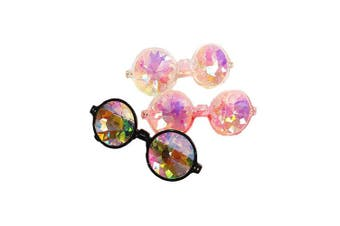 (Black+clear+pink, One size) - FLORATA Kaleidoscope Glasses, Rainbow Crystal Lenses - Multicolor Fractal Prism - Rave, Festival, EDM, Light Show