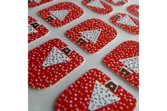 New Design LITTLE CHIX Nail Wraps CHRISTMAS Tree Snow Red White Green CHILDRENS Teens Finger Toe Foils Minx Jamberry Style