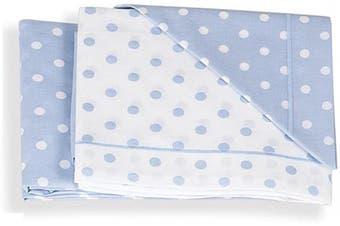 Italbaby 3 Piece Dotted Pram Sheet Set, Light Blue, Multi-Colour, One Size