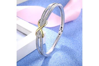 """(Silver & Gold 1) - Angelady""""Forever and Ever""""Silver Infinity Ladies Bracelets Bangles for Womens Bracelet Magnetic Mum Bracelets