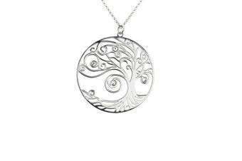 AKA Jewellery - Tree of Life Necklace Sterling Silver Pendant with Crystals, Self-realisation Model, Gift for woman and girls