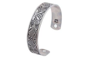 (antique silver) - Viking Talisman Raven Irish Knotwork Birds Magnetic Therapy Cuff Bracelet Men Women Jewellery