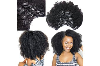 Morningsilkwig Afro Kinky Curly Clip In Human Hair Extensions Nautral Black Clip-in Full Head 8 Pcs/Set Brazilian Remy Hair Clip 120G (12inch/30cm 8pcs/120g, Black)