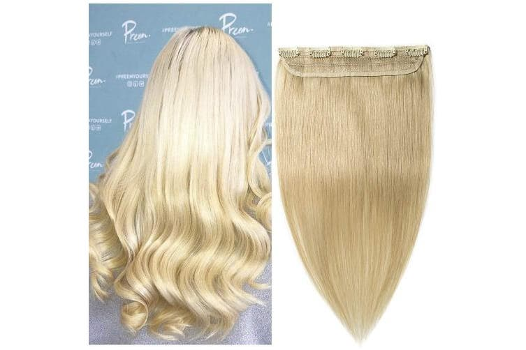 (41cm  - 45g, #613 Bleach Blonde) - 41cm One Piece Clip in 100% Remy Human Hair Extensions Long Straight 3/4 Full Head Real Hair 5Clips, 45g #613 Bleach Blonde