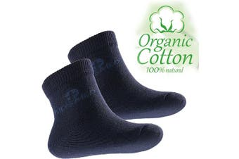 (3-6 Months, Navy blue) - 4sold Kids Socks Boys Girls Pressure Free Top Organic Cotton Anti-allergic Antibacterial With Biogenic Silver Ions