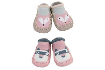(Fox and Raccoon) - 2 Pairs of Baby Boys Girls Indoor Slippers Anti-slip Shoes Socks 9-18 Months