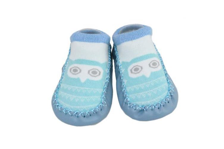 (Owl and Raccoon) - 2 Pairs of Baby Boys Girls Indoor Slippers Anti-slip Shoes Socks 9-18 Months