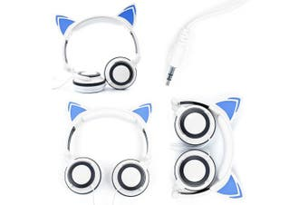 (White Cat Headphones) - White Cat Children's Headphones (with Blue LED Ears) Compatible with the HP ZBook x2 - by DURAGADGET