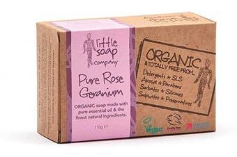 (Rose & Geranium) - Little Soap Company Soap Bar with Rose Geranium – Natural, Vegan & Organic (110g)