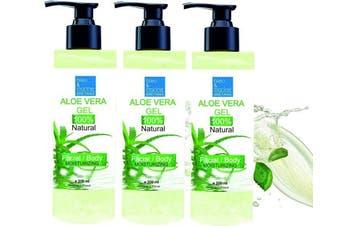 100% Natural Aloe Vera Gel - Pump Bottle (3 x 200 ml) - Face Hair Body - After Sun - After Waxing - Healing Eczema Sun Burn Razor Bumps - Prevents Stretch Marks - Anti Scars by bleumarine Bretania