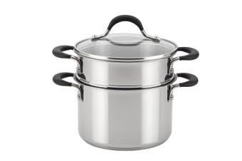 Circulon 78017 2.8l Momentum Nonstick Covered Straining Saucepot with Steamer Insert, Medium, Stainless Steel