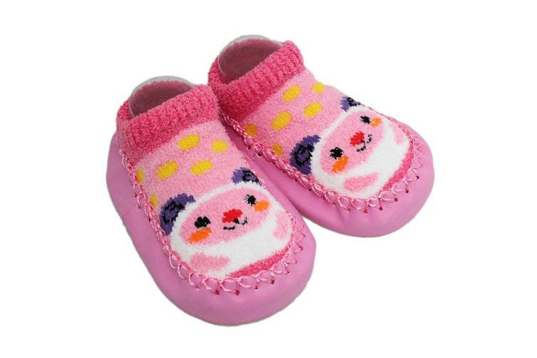 (12-24 Months, Pink) - 2 Pairs of Baby Boys Girls Fleece Non-slip Slippers Socks 6-12 12-24 Months