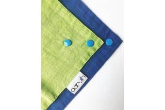 (Green/Blue) - Baby Bandana Reversible Organic Cotton Muslin Cloth Dribble Drool Bib (Green/Blue)