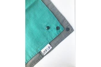(Grey/Green) - Baby Bandana Reversible Organic Cotton Muslin Cloth Dribble Drool Bib (Grey/Green)