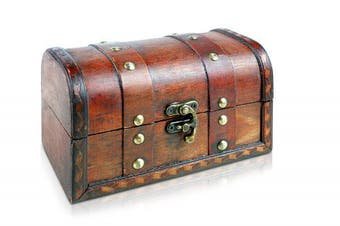 (Ligero Alexa) - Brynnberg - Pirate Treasure Chest Storage Box - Durable Wood Construction - Unique, Handmade Vintage Design With A Front Lock - Striking Decorative Element - The Best Gift (Ligero Alexa)