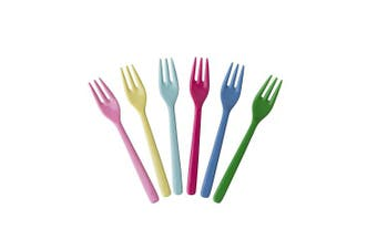 6 Melamine Cake Forks in Assorted Colours - CLASSIC