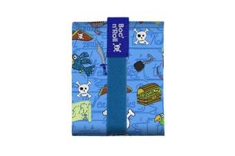 (Blue) - Roll'eat Boc'N'Roll-Kids Pirates Blue - Reusable Sandwich Wrapper - Sandwich box - Eco food wrap - Kids food bag