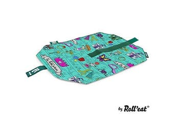 (Turquoise) - Roll'eat Boc'N'Roll-Kids Princess Turquoise - Reusable Sandwich Wrapper - Sandwich box - Eco food wrap - Kids food bag