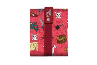 (Red) - Roll'eat Boc'n'Roll-KIDS Pirates Red - Reusable sandwich wrapper