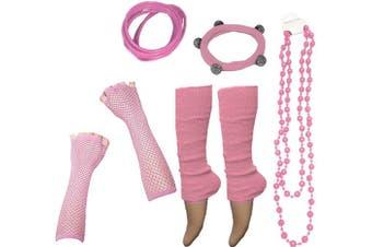 (Rose Pink) - A-Express® Neon UV Legwarmer Gloves Beads Gummies For Tutu Hen Fancy Dress Party Costumes