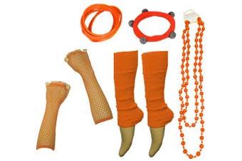 (Orange) - A-Express® Neon UV Legwarmer Gloves Beads Gummies For Tutu Hen Fancy Dress Party Costumes