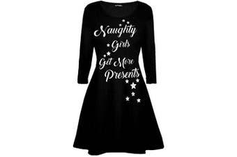 (S/M (UK 8/10), Naughty Girl Black) - Be Jealous Womens Ladies Santa Reindeer Wall Snowflake Costume Christmas Xmas Swing Dress UK Plus Size 8-26