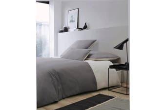 (Bettwäsche-Set 155x220+80x80) - Duvet Set Rose village - Deauville, Made in France - Edelp Percale 80 FD/cm² (Coverlet in Brown²), Two Colours: Grey/Natural, 100 % Cotton, grau/natur, Bettwäsche-Set 155x220+80x80