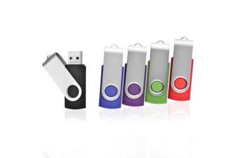 (5 Mixed Colours) - 5pcs 8GB Swivel Design USB 2.0 Flash Drive Memory Stick (5 Mixed Colours: Black Blue Green Purple Red)
