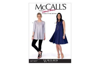 (17.00x0.5x0.070 cm) - Mccall's Patterns 7407 E5 Misses Top and Dress Sewing Pattern, Tissue, Multi-Colour, Sizes 14 - 22