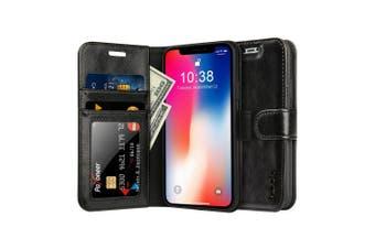 (iPhone X, Black) - iPhone X Case, Labato Genuine Leather Wallet Case Protective Folio Cover Flip Stand Case for Apple iPhone X / iPhone 10 (2017) Black Lbt-IPX-02Z10