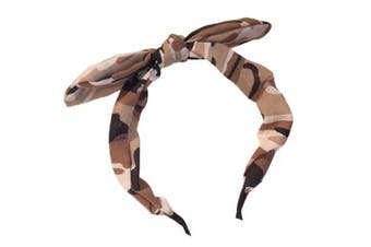 (Camouflage) - New Wide Ribbon Bowknot Alice Headband Hairband Bunny Rabbit Ears Wire Bendy Bow - Choice of Colour