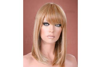 Forever Young Ladies Wig Long Straight Side Bangs Fringe Honey & Light Blonde Mix