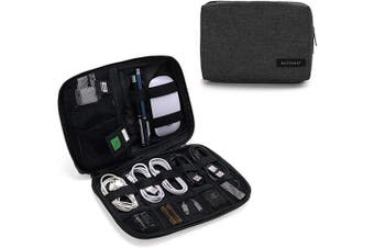 (Black) - BAGSMART Electronics Accessories Organiser Bag, Portable Electronics Carrying Case Travel Small for Cables, Powerbank, Earphone, USB sticks, SD Card (Black)