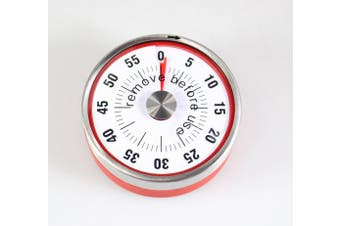 (BIG, Red) - BALDR Mechanical Countdown Timer Kitchen Tool Stainless Steel Round Shape Magnetic Timers Black Colour Time Reminders (BIG, RED)