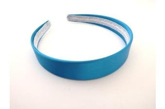 (Blue) - Wide Satin Headband Hair band Alice Band (Blue)