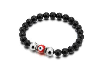 (03) - Mens Women Mat Black Bead Bracelet with Murano-style Glass Evil Eye Bead, Protection Prayer Mala