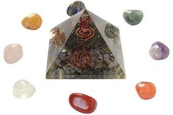 (BLACK GIFT POUCH, Multicolour (Sodalite)) - Harmonise Sodalite Orgone Pyramid Energy Generator Spiritual Reiki Healing Crystal Chakra