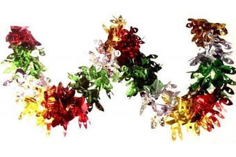 Multi Colour Peacock Foil Garland 2.7m Christmas Decoration Ceiling Hanging Home Swirls Festive Party Wall Window