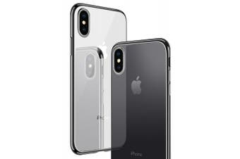 (Black) - iPhone X Case, CASEKOO Clear Transparent Soft TPU Silicone Gel Cover with Plating Bumper Ultra Thin Slim Fit Protective Case for iPhone X [Supports Wireless Charging] - Black